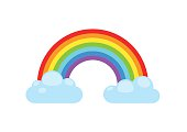 Rainbow and clouds. Nature sign spectrum. Weather curve, graphic symbol.