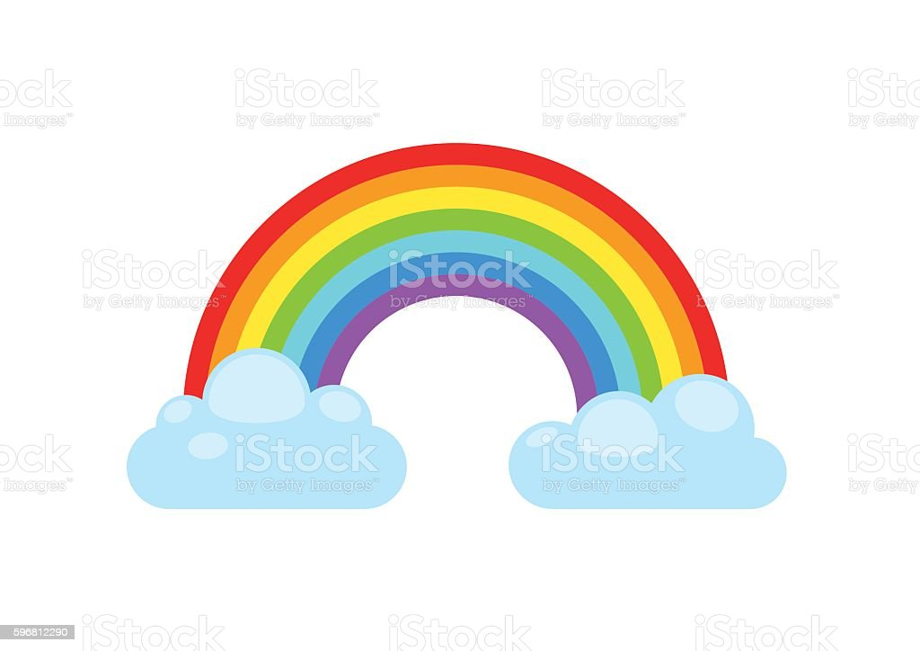 Rainbow and clouds. Nature sign spectrum. Weather curve, graphic symbol. - ilustración de arte vectorial
