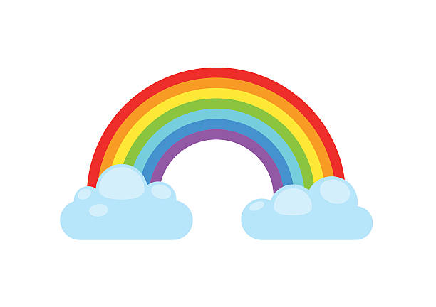 rainbow and clouds. nature sign spectrum. weather curve, graphic symbol. - tęcza stock illustrations