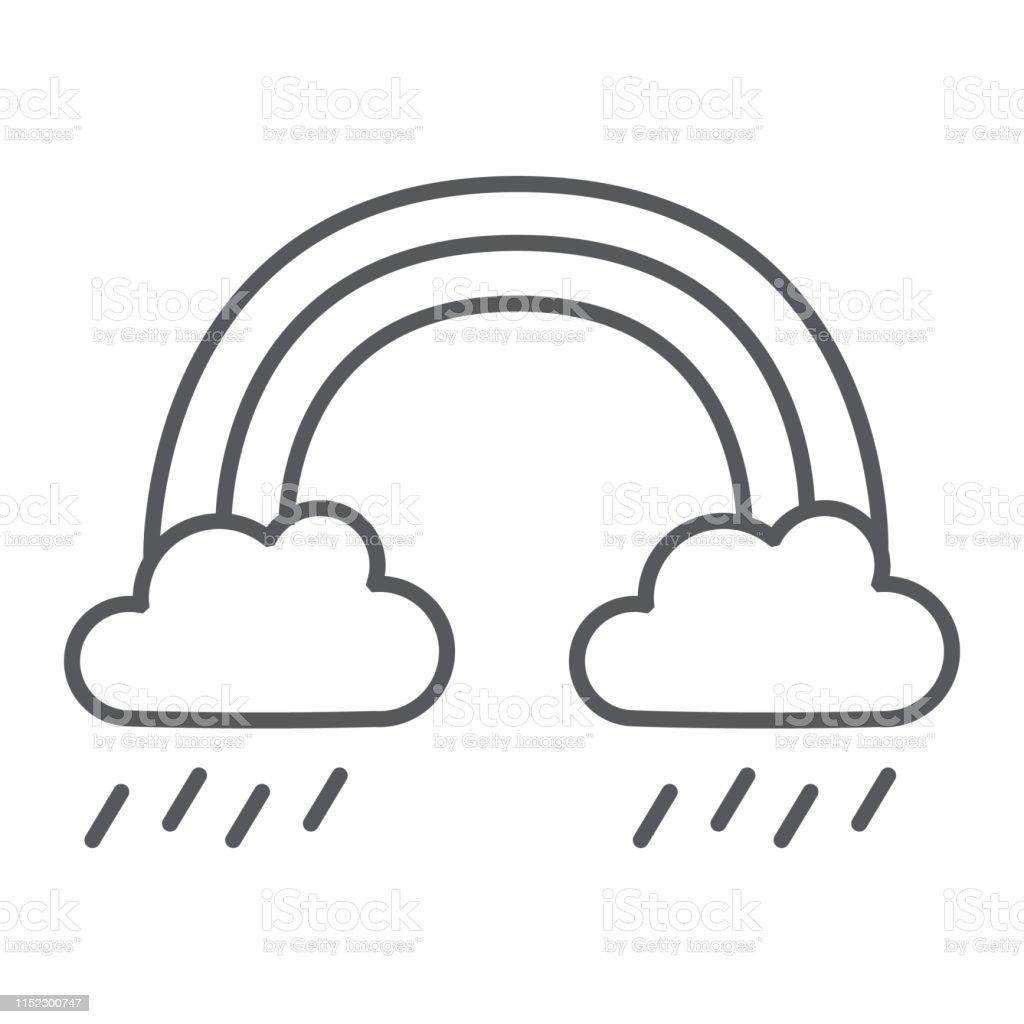 Rainbow and rain thin line icon, weather and nature, rainy sign,...