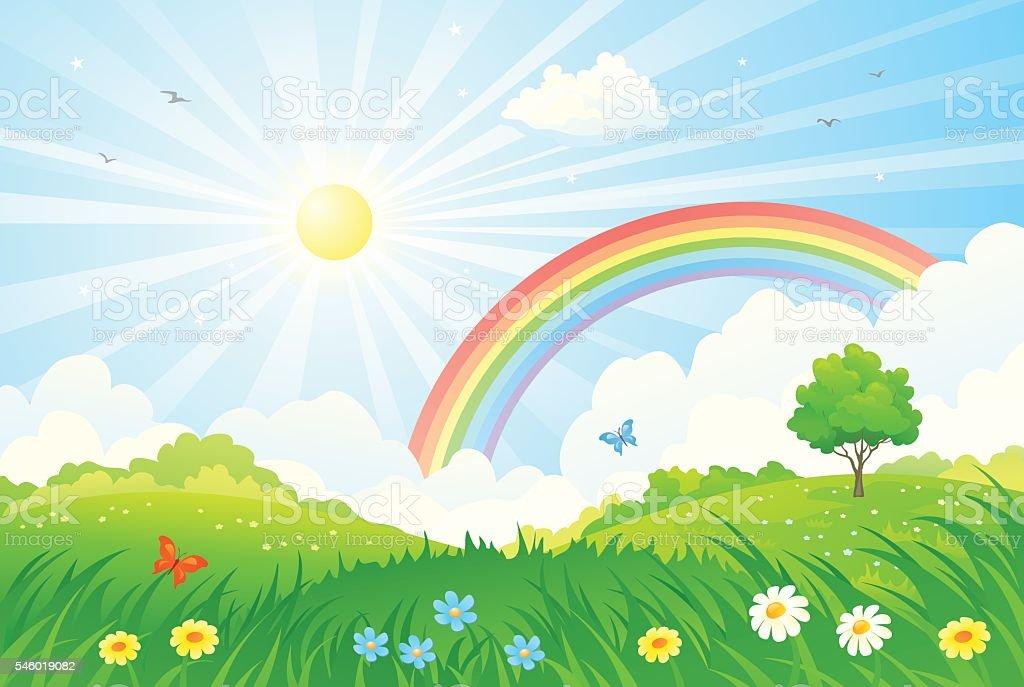 Rainbow and sun vector art illustration