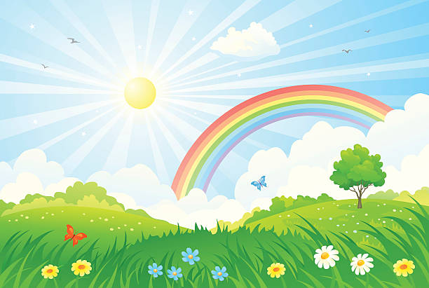 stockillustraties, clipart, cartoons en iconen met rainbow and sun - zonnig