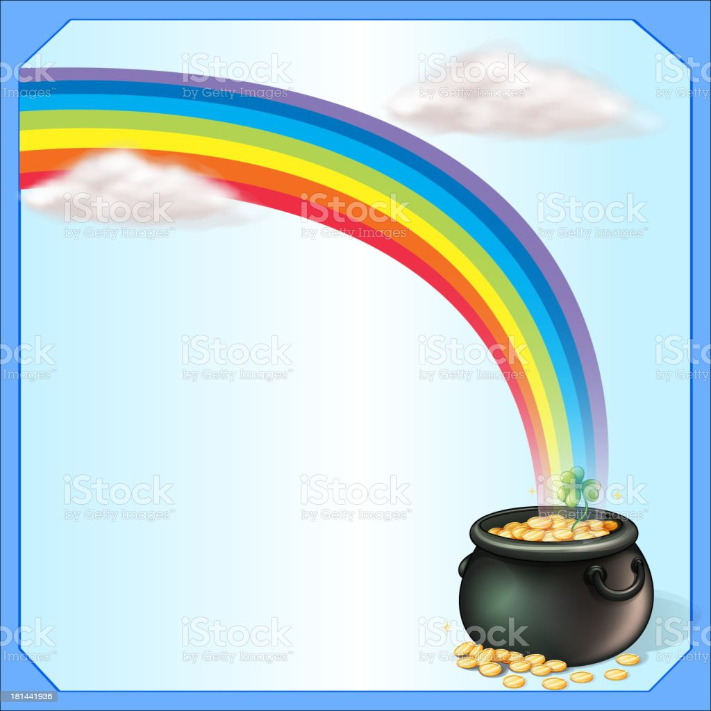 rainbow and the pot of coins royalty-free stock vector art
