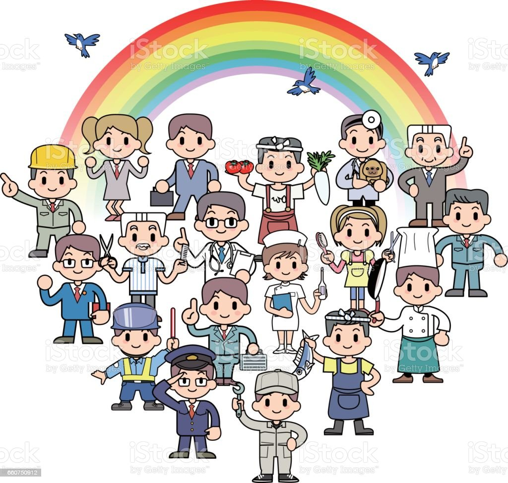 Rainbow and the town people vector art illustration