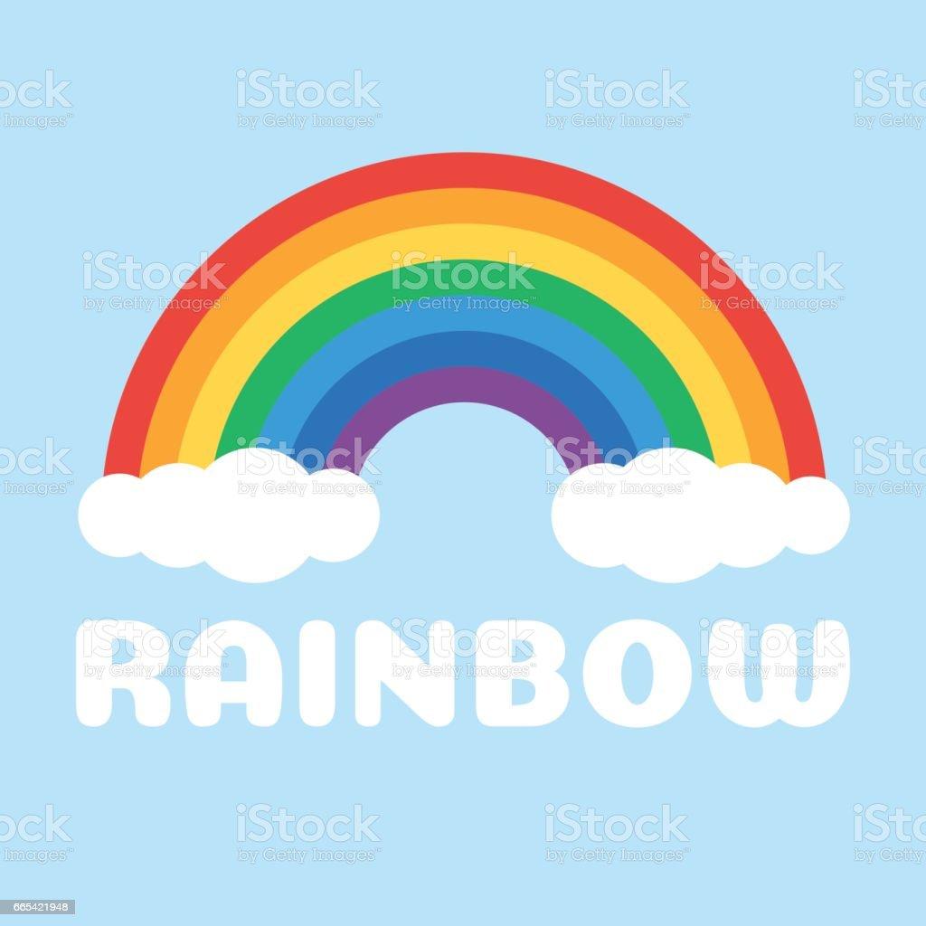 Arco iris y nubes blancas - ilustración de arte vectorial
