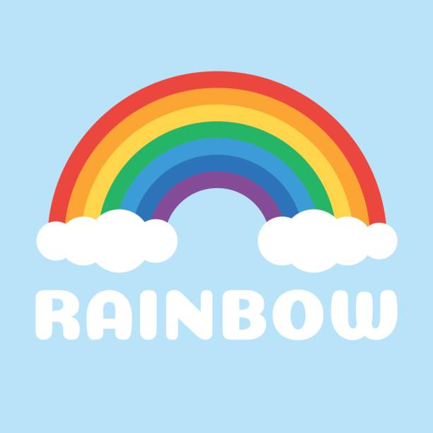 Rainbow and white clouds vector art illustration