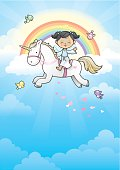 Happy angel girl on her unicorn running in the clouds (wings on angel girl can be removed).