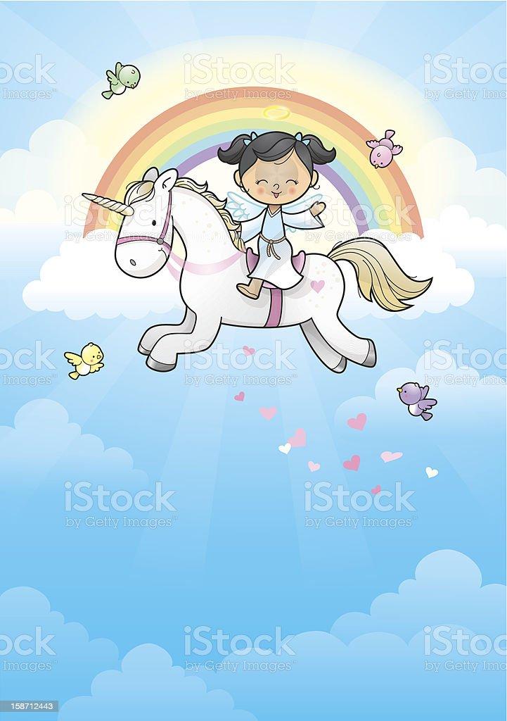 Rainbow angel girl riding unicorn vector art illustration