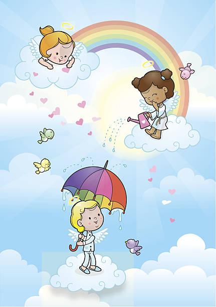 rainbow angel kids raining - kids playing in rain stock illustrations, clip art, cartoons, & icons
