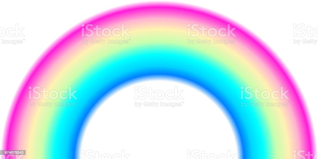 Rainbow arc shape, half circle, bright spectrum colors, colorful striped pattern vector art illustration