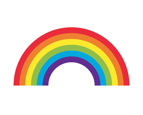 Rainbow arch vector icon. Decorative pattern weather symbol. Color spectrum stripe sign logo. Isolated on white packground.
