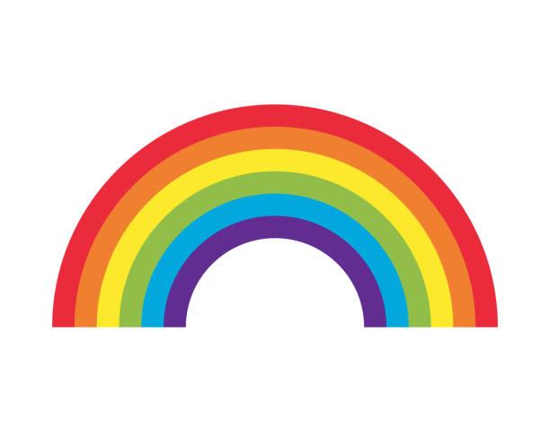 ilustrações, clipart, desenhos animados e ícones de ícone vetorial arco-íris. símbolo meteorológico padrão decorativo. logotipo de sinal de listra de espectro colorido. isolado em packground branco. - arco íris