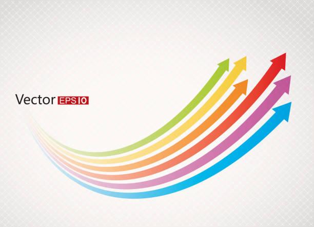 Rainbow arrows vector art illustration