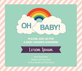 Baby shower invitation template with rainbow and clouds in vector format.