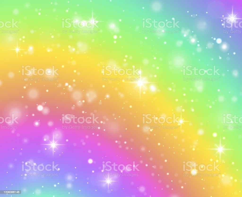 Rainbow Background Fantasy Unicorn Galaxy Fairy Stars In Pastel Sky And Bokeh Iridescent Hologram Texture With Glitter Effect Vector Concept Stock Illustration Download Image Now Istock