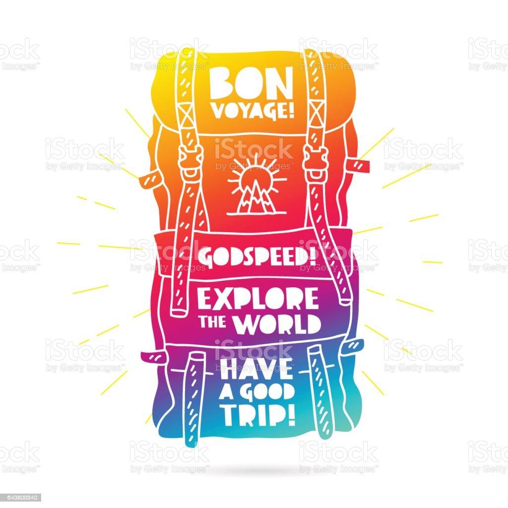 Sac à dos de Rainbow. Bon Voyage - Illustration vectorielle