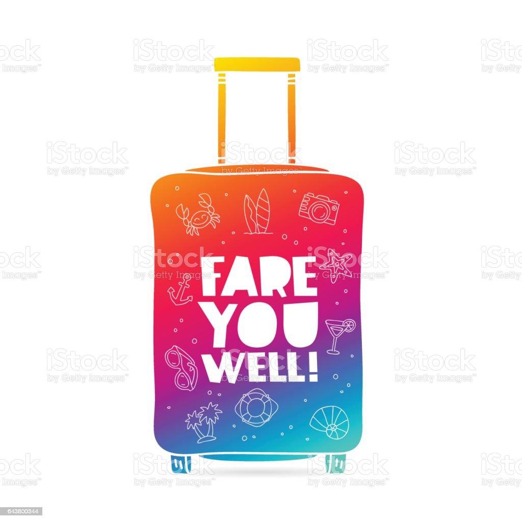 Rainbow bag. Fare you well vector art illustration