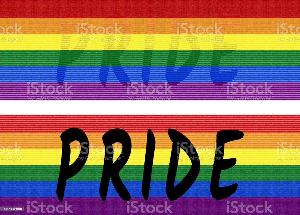 Bandera de arco iris de la textura de puntos de colores en fondo transparente (blanco). los colores simbólicos de LGBT / LGBTQ pride bandera. - ilustración de arte vectorial