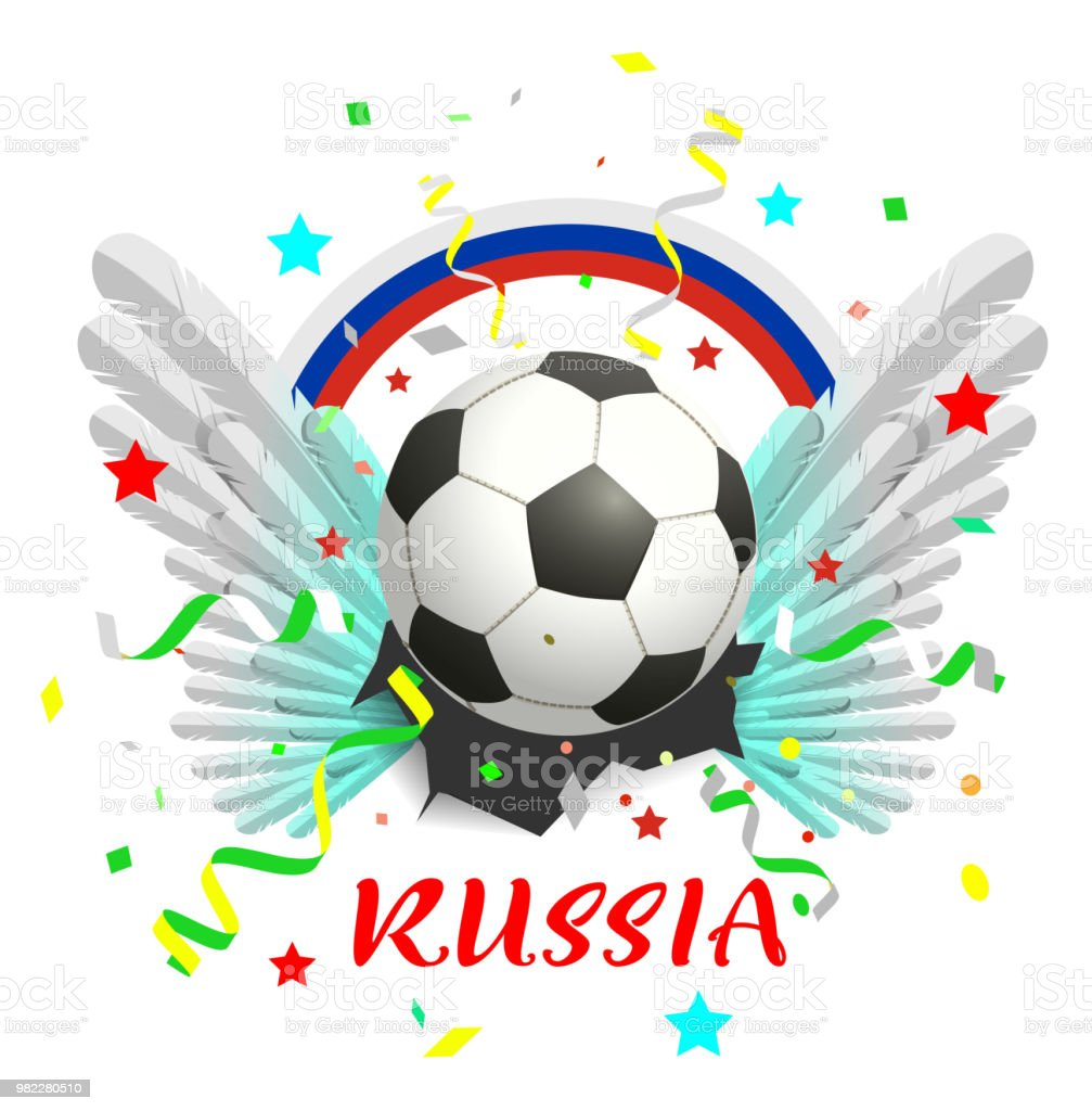 Regenbogen Fahne Russland Text Fussball Ball Und Weissen