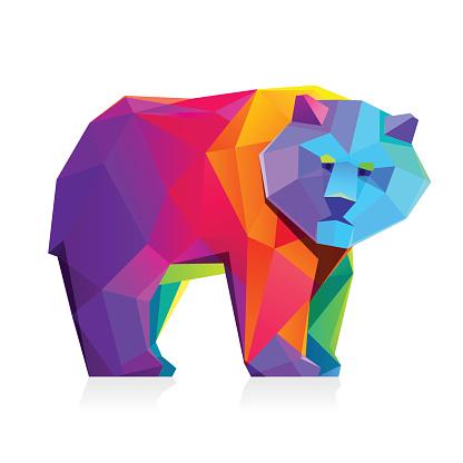 Rainbow bear vector low poly character.