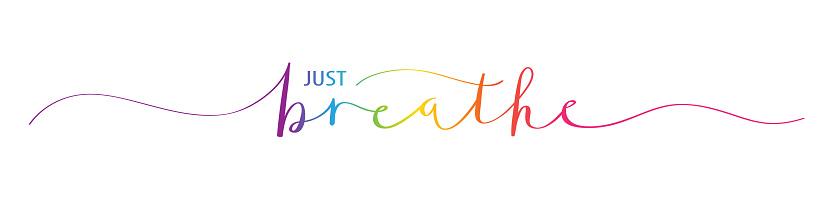 JUST BREATHE rainbow brush calligraphy banner