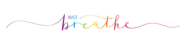 JUST BREATHE rainbow brush calligraphy banner Vector rainbow brush calligraphy banner JUST BREATHE with swashes inhaling stock illustrations