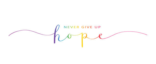 never give up hope rainbow brush calligraphy banner - optimistic stock illustrations