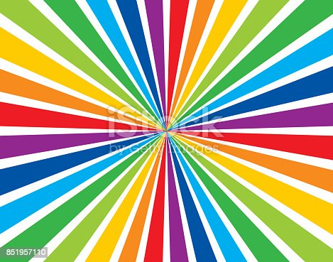 Vector illustration with a rainbow busrt with a vanishing point