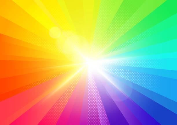 stockillustraties, clipart, cartoons en iconen met regenboog barsten stralen achtergrond - regenboog