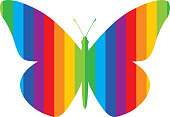 Vector illustration of a rainbow striped butterfly.