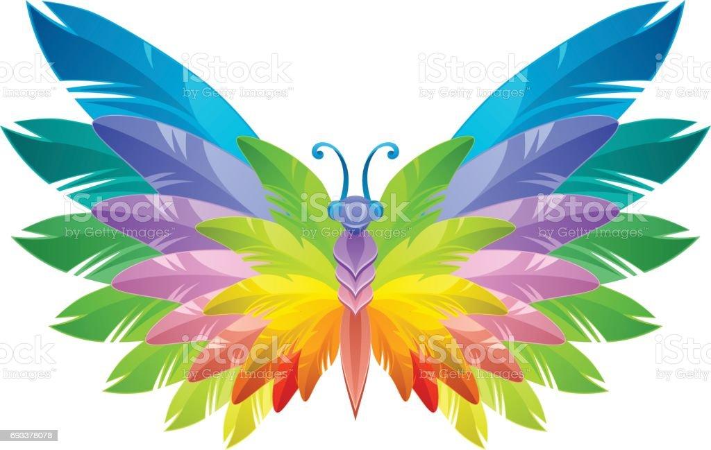 Rainbow butterfly vector art illustration