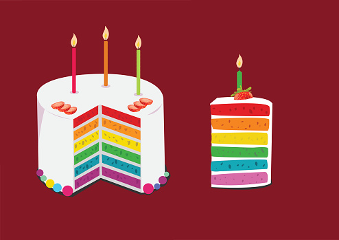 rainbow cake decorated with birthday candles