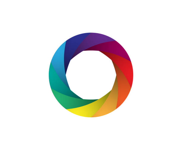 Rainbow camera shutter iris vector illustration. Colorful artwork on the white background. Rainbow camera shutter iris vector illustration. Colorful artwork on the white background. aperture stock illustrations