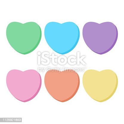 Cute blank rainbow conversation hearts candy with copy space for Valentine's Day isolated on white background