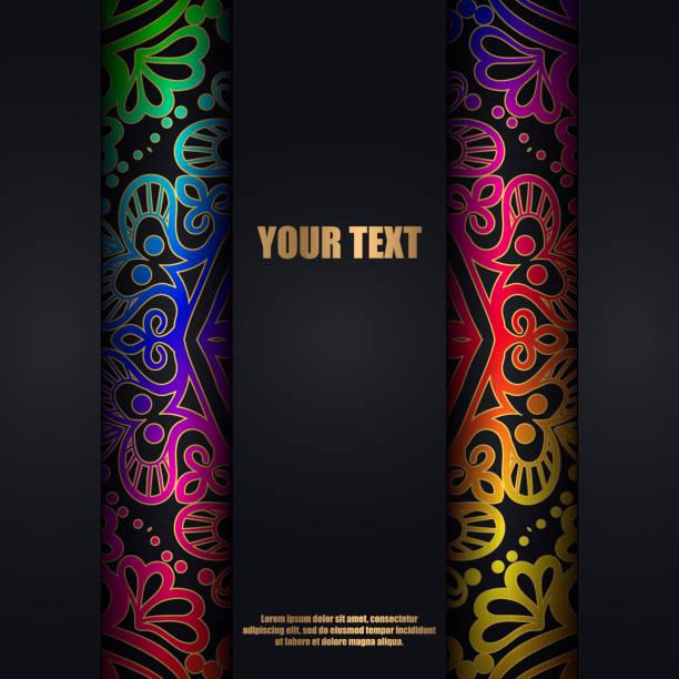 Regenbogen-Karte oder eine Einladung mit orientalischen Muster-Mandala. – Vektorgrafik