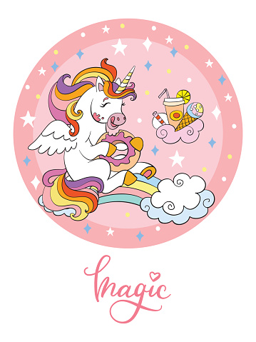 Rainbow cartoon unicorn vector illustration pink circle