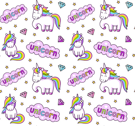 Rainbow cartoon unicorns. Seamless pattern for children, babies, kids, girls, boys.