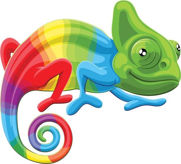 rainbow chameleon - chameleon stock illustrations