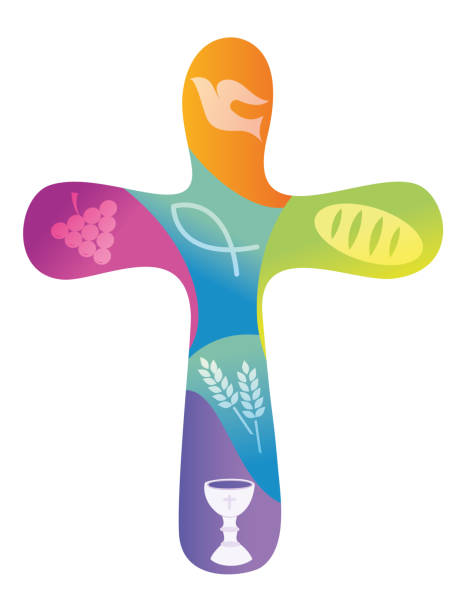 rainbow christian cross with various symbols - communion stock illustrations, clip art, cartoons, & icons