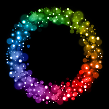 Rainbow Christmas fairy lights circle design