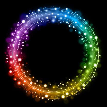 Rainbow Christmas wreath fairy lights design