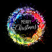 Hand drawn rainbow christmas wreath design on white background