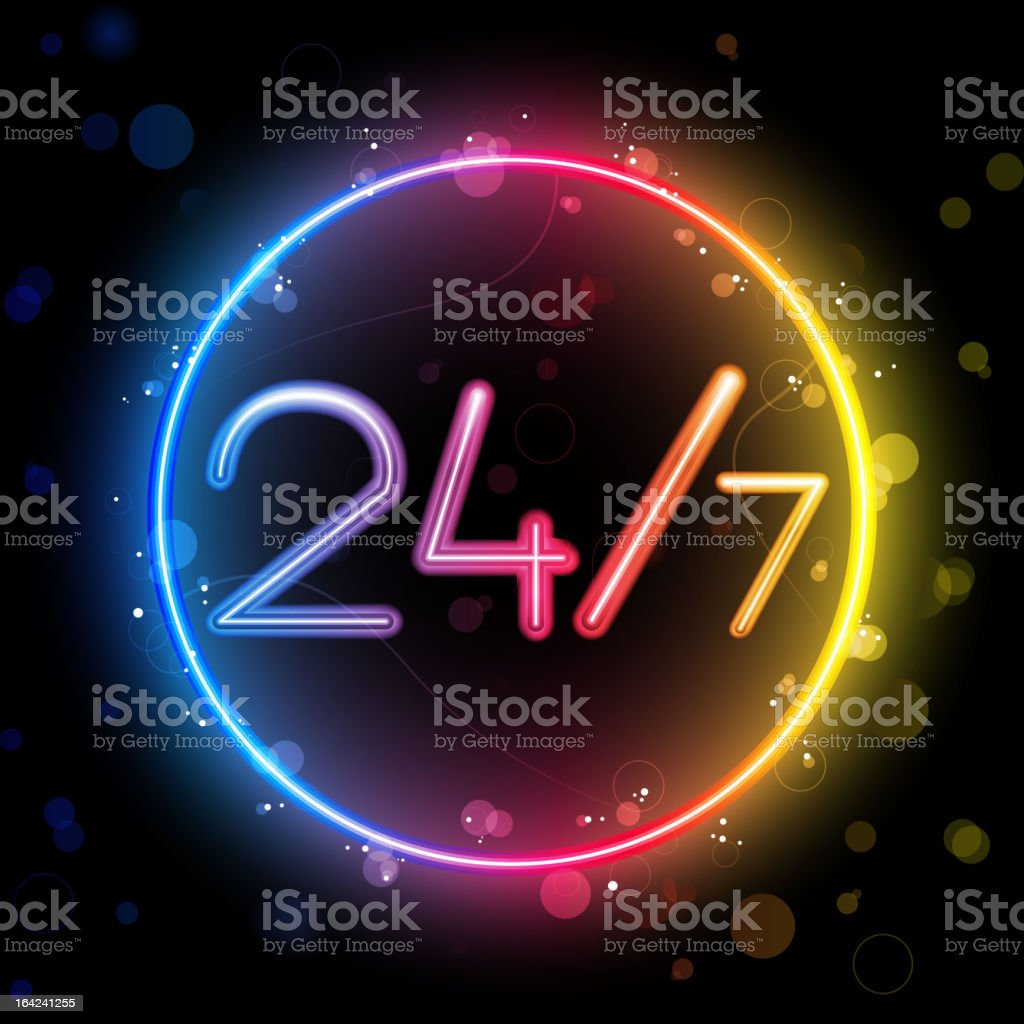 24/7 Rainbow Circle Border with Sparkles and Swirls royalty-free 247 rainbow circle border with sparkles and swirls stock vector art & more images of 24 hrs
