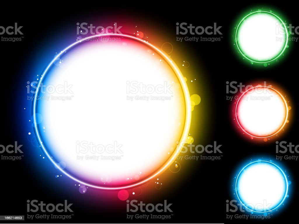 Rainbow Circle Border with Sparkles and Swirls. royalty-free stock vector art