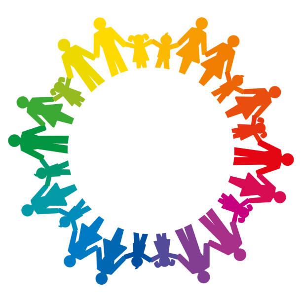 Regenbogenkreis, gebildet von Männern, Frauen, Jungen und Mädchen, die Hände halten – Vektorgrafik