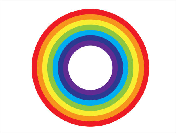 ilustrações, clipart, desenhos animados e ícones de ícone do círculo do arco-íris, projeto do vetor - arco íris