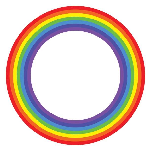 Rainbow circle spectrum colored vector art illustration