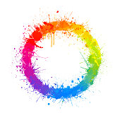 Rainbow paint splash abstract circle vector background