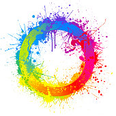 Rainbow paint splash abstract circle vector background