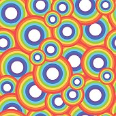 Rainbow circle vector seamless pattern